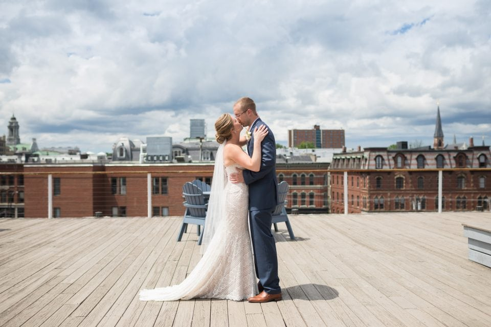 First look on the rooftop at the Regency Hotel Portland Maine - (c) 5iveLeaf Photography First Look